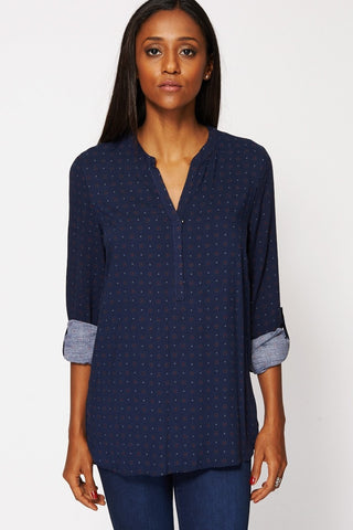Women's Blue Dot-Print Dipped-Hem Top 6-20-Clothing > Shirts & Blouses-Loluxe