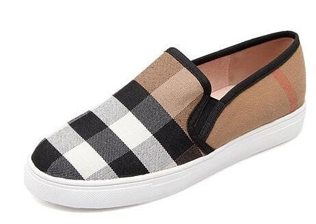 Women's Canvas Plaid Slip-On Platform Loafers 2 Colors-Loluxe