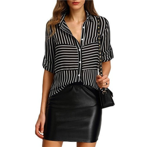 Women's Career Fashion Stripe Tab-Sleeve Button Front Chiffon Blouse S-XL-Loluxe