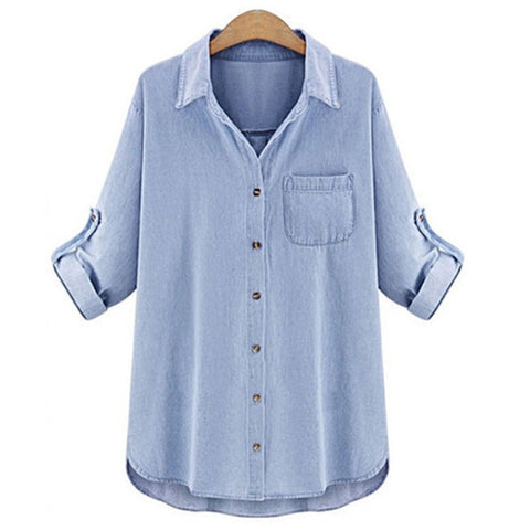 Women's Casual Denim Tab-Sleeve Shirt XL-5XL 2 Colors-Loluxe