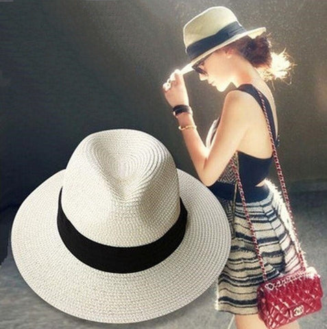 Women's Classic Ribbon Straw Summer Panama Beach Hat 2 Colors-Loluxe