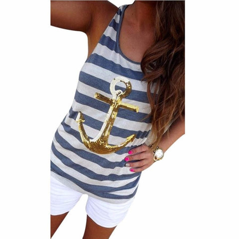 Women's Cute Casual Stripe Sequined Nautical Tank Top S-XL 3 Colors-Loluxe