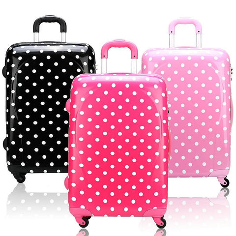 Women's Designer Polka Dot Print Retro-Style Universal Trolley Luggage 3 Colors 2 Sizes-Loluxe