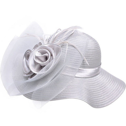 Women's Elegant Floral/Feather-Accent Wide-Brim Floppy Summer Kentucky Derby Church Hat 8 Colors-Loluxe