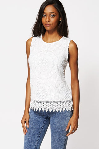 Women's Elegant Lace Cream Crochet Sleeveless Top S-XL-Clothing > Tops-Loluxe