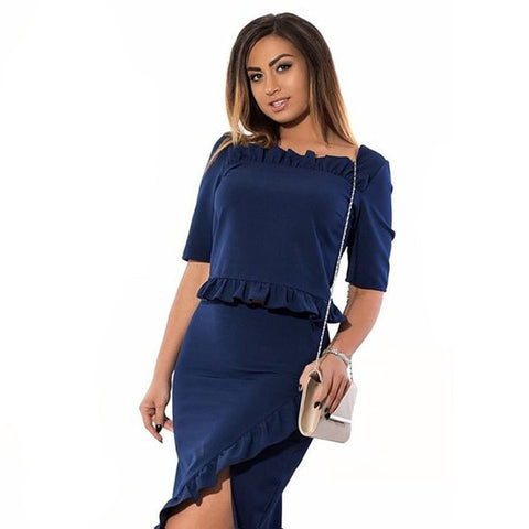 Women's Elegant Ruffle Side-Split Summer Dress L-6XL 4 Colors-Loluxe