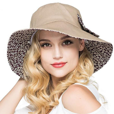 Women's Elegant Wide-Brim Cotton Floppy Reversible Summer Beach Hat 4 Colors-Loluxe