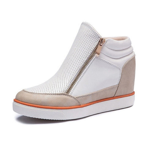 Women's Fashion Casual Leather High-Top Side-Zip Sneakers 3 Colors-Loluxe