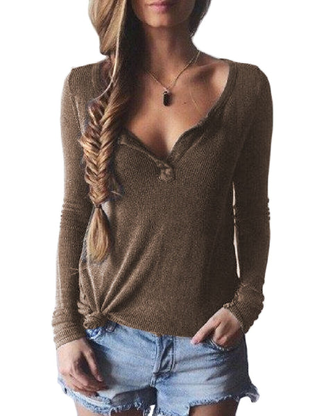 Women's Fashion Casual V-Neck Slim Solid Pullover Sweater S-XL 4 Colors-Sweaters/Cardigans-Loluxe