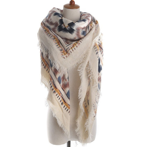 Women's Fashion Design Geometric-Print Cashmere Fringe-Accent Scarf 4 Colors-Loluxe