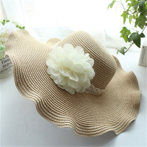 Women's Fashion Floral-Accent Straw Floppy Summer Hat 2 Colors-Loluxe