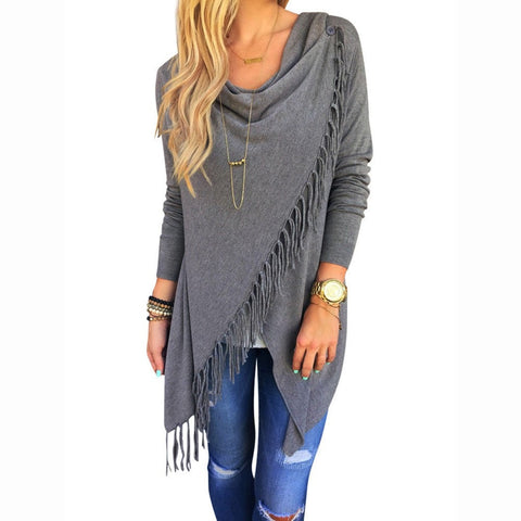 Women's Fashion Long-Sleeve Tassel Slash Top S-XL 4 Colors-Loluxe