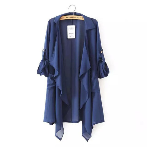 Women's Fashion Loose Chiffon Cardigan-Style Shirt Jacket S-L 2 Colors-Loluxe