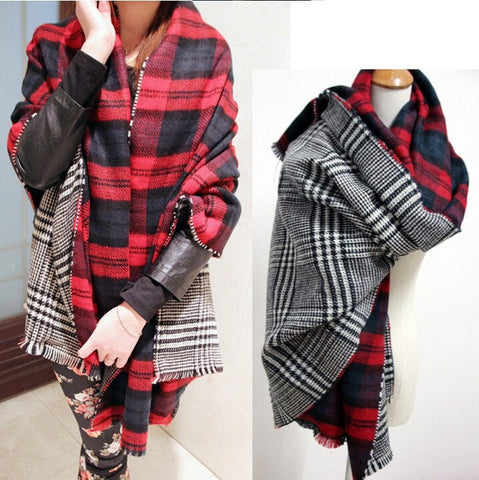 Women's Fashion Plaid Reversible Oversized Cashmere Winter Scarf 2 Colors-Loluxe
