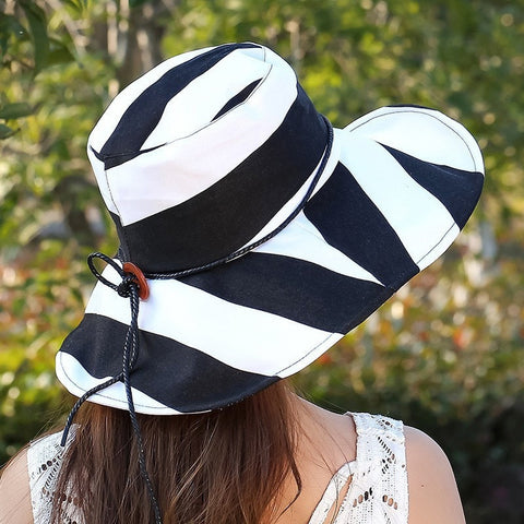 Women's Fashion Stripe Adjustable Wide-Brim Floppy Summer Beach Hat 5 Colors-Loluxe