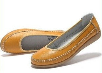 Women's Genuine Leather Casual Flexible Slip-On Shoes 4 Colors-Loluxe