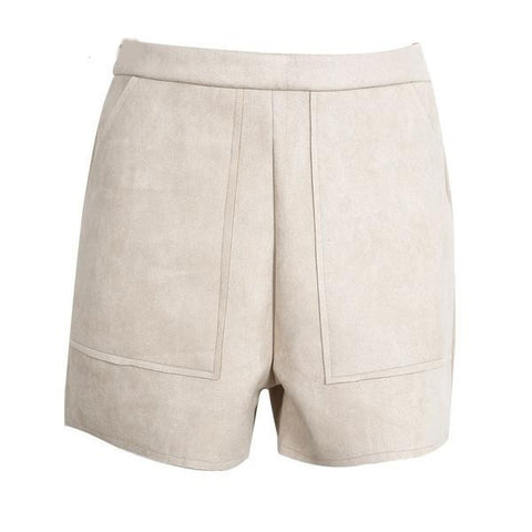 Women's High-Waist Pocketed Suede Casual Shorts S-L 3 Colors-Loluxe