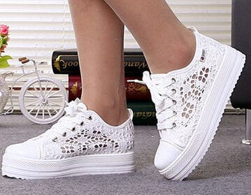 Women's Hollow-Out Designer Lace Breathable Platform White Sneakers-Loluxe