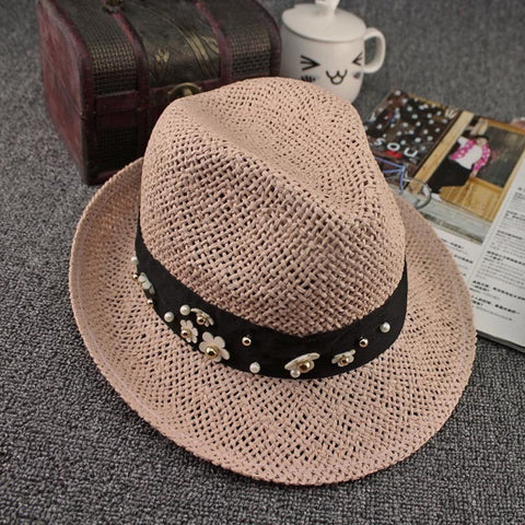 Women's Jewel-Accent Straw Fedora Summer Hat 5 Colors-Loluxe