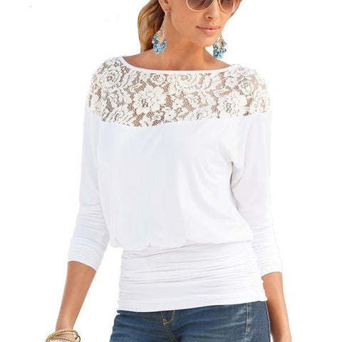 Women's Lace Long-Sleeve Banded Loose Casual Top S-XL 3 Colors-Loluxe