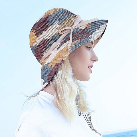 Women's Large Brim Multicolored Bowknot Summer Beach Hat 3 Colors-Loluxe
