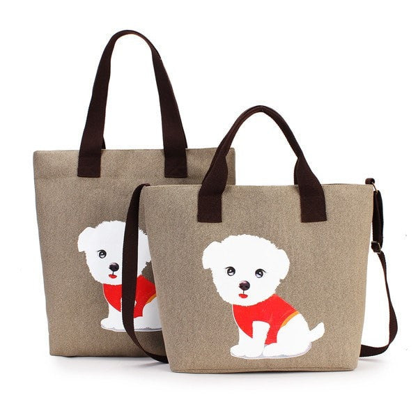 Women's Lovely Handbag Dog Pattern Shoulder Canvas Zipper Bags-Handbags-Loluxe