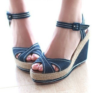 Women's Open-Toe Denim Platform Wedge-Heel Sandals 7 Colors-Loluxe