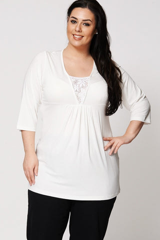 Women's Plus Size Cream V-Neck Tunic with Crochet Underlay Detail-Clothing > Tops-Loluxe