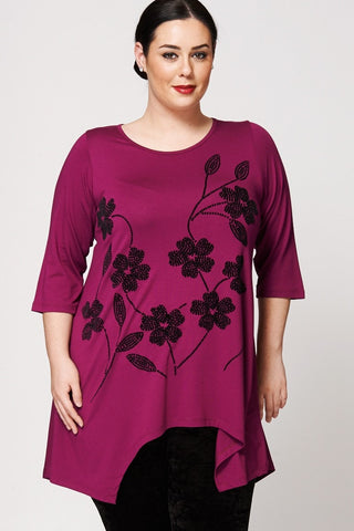 Women's Plus Size Floral Flock Pattern Waterfall Hem Handkerchief Top-Clothing > Tops-Loluxe