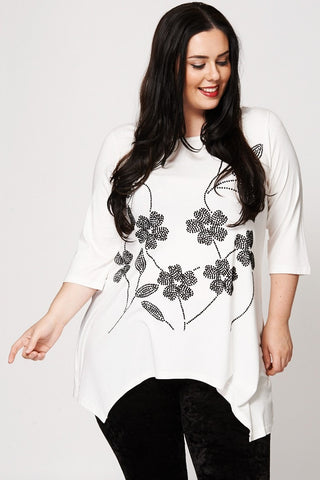 Women's Plus Size Floral Flock Print Waterfall Hem Top-Clothing > Tops-Loluxe