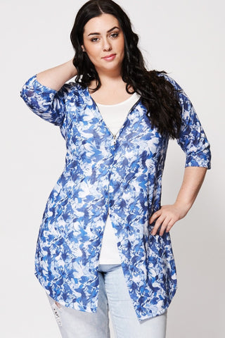 Women's Plus Size Floral Print Two-In-One Top And Cardigan-Clothing > Tops-Loluxe