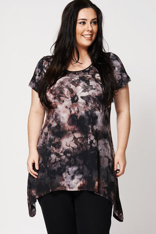 Women's Plus Size Floral Watercolour Design Handkerchief Waterfall Top-Clothing > Tops-Loluxe