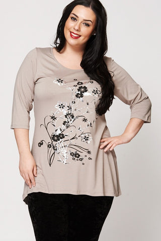 Women's Plus Size Flower Pattern Dipped Hem Top-Clothing > Tops-Loluxe