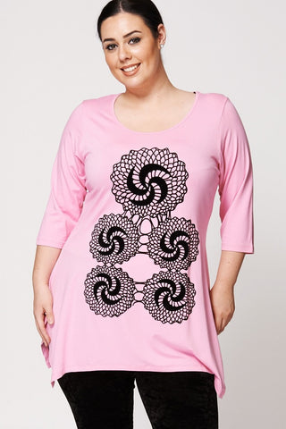 Women's Plus Size Mosaic Petal Flock Pattern Handkerchief Top-Clothing > Tops-Loluxe