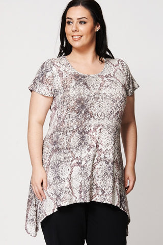 Women's Plus Size Sequin Print Handkerchief Top-Clothing > Tops-Loluxe