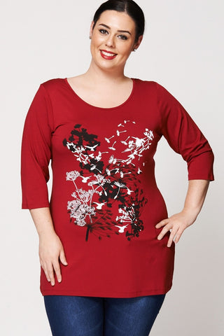 Women's Plus Size Woodland Print Dipped Hem Top-Clothing > Tops-Loluxe