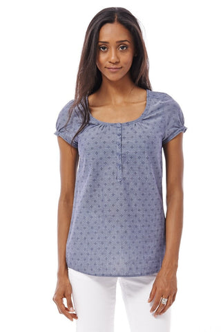 Women's Pretty Dotted Square-Neck Peasant Top 6-20-Clothing > Tops-Loluxe