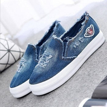 Women's Ripped Denim Canvas Slip-On Fashion Sneakers 2 Colors-Loluxe