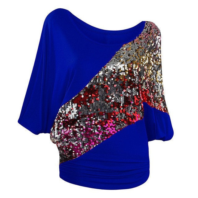 Women's Sequined Batwing Fashion Loose Party Summer Top S-3XL 15 Colors-Loluxe