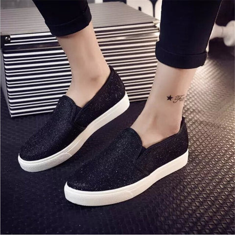 Women's Sequined Slip-On Comfortable Casual Sneakers 2 Colors-Loluxe