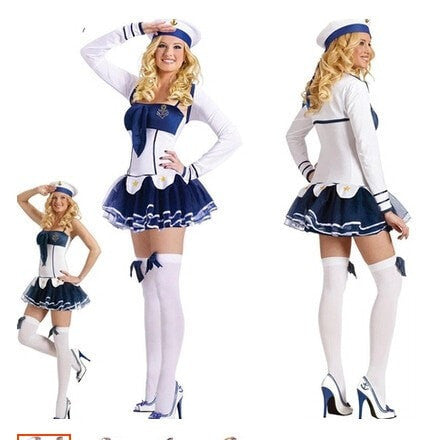 Women's Sexy Navy Sailor Costume One Size-Loluxe