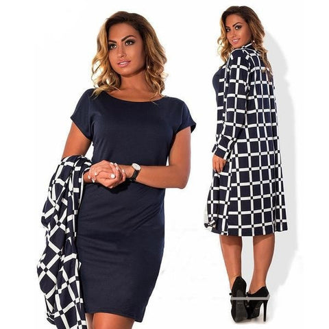 Women's Spring Plaid Trench-Style Solid Sheath Dress With/Without Jacket Set L-6XL-Loluxe