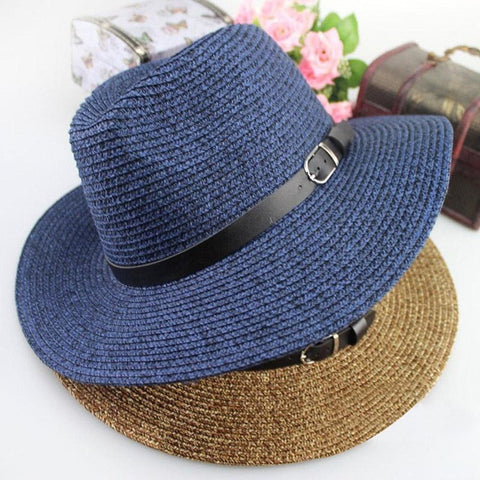 Women's Summer Straw Buckle Accent Hat 2 Colors-Loluxe