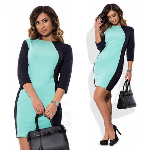 Women's Two-Tone Three-Quarter Figure-Flattering Sheath Dress L-6XL 2 Colors-Loluxe