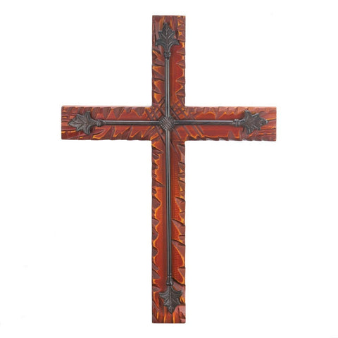 Wood And Iron Wall Cross-Heavenly Decor-Loluxe