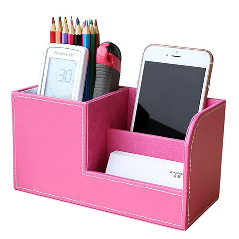 Wood Leather Multifunctional Desk/Vanity Organizer 6 Colors-Loluxe