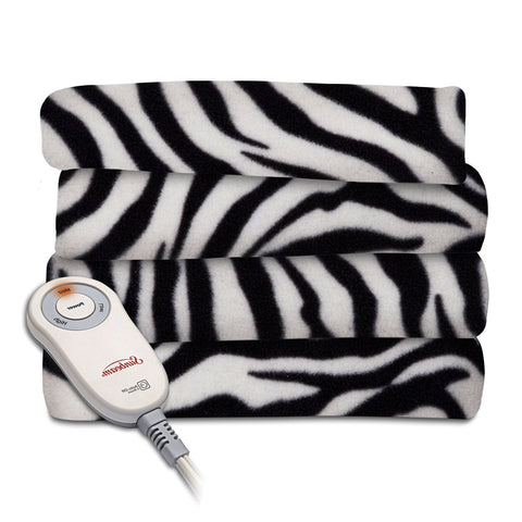 Zebra Fleece Heated Electric Throw Blanket in Black and White-Bedroom > Quilts & Blankets-Loluxe