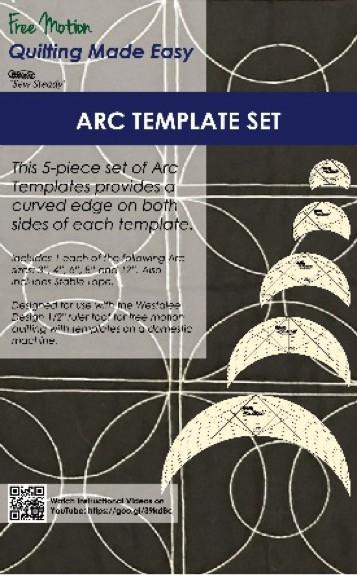 "Westalee Arc Template set. 5 sizes; 3"",4"",6"",8"", and 12"""