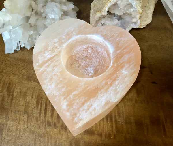Peach Selenite Heart Tealight Candle Holder - Willow Tree Soul Gifts