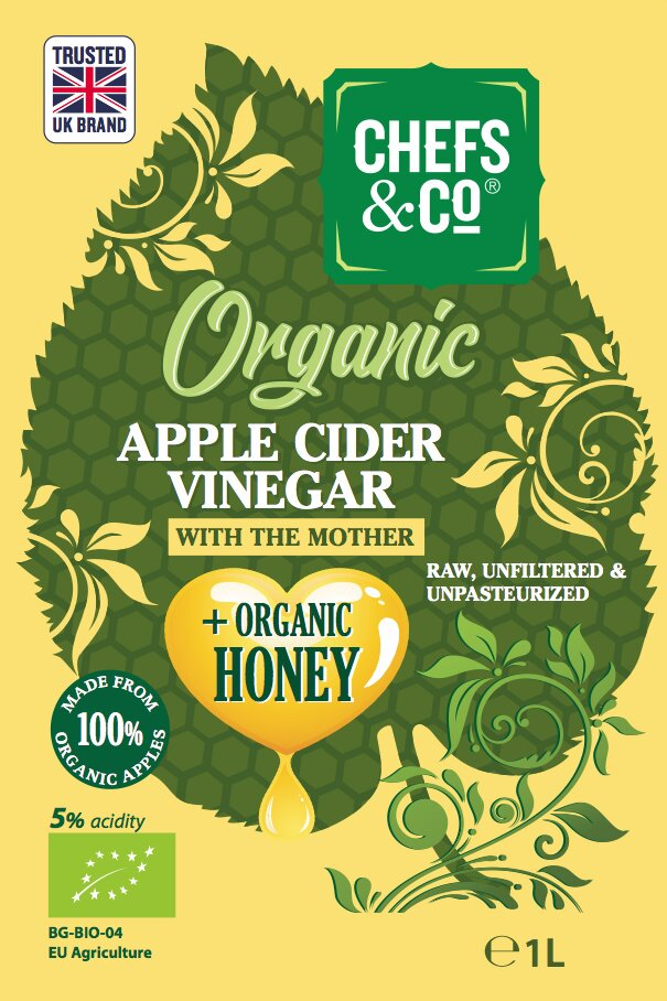 CHEFS & CO Organic Apple Cider Vinegar with Organic Bee Honey | with The Mother | Glass Bottle | Unfiltered | 5% Acidity